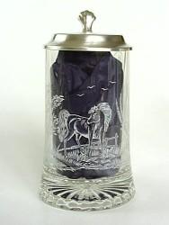 Skleněný korbel s poklopem Kůň W