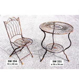 Kovový stolek se židlí Natural