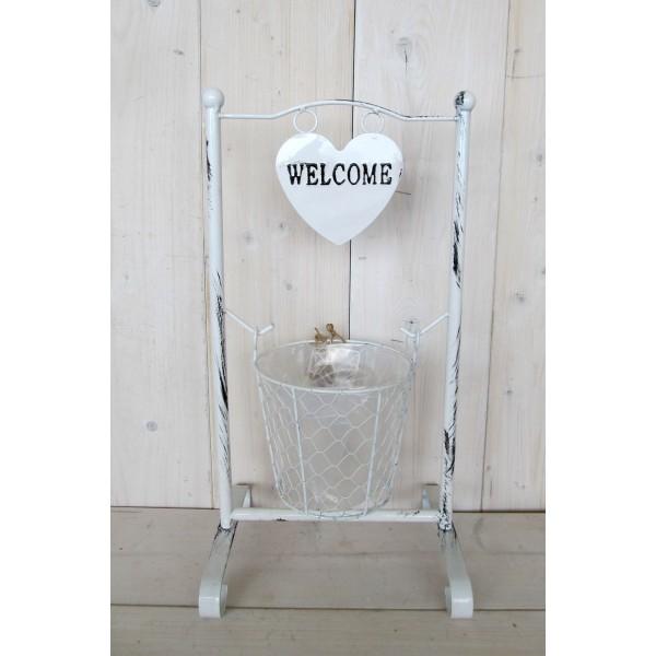 Kovový uvítací stojan Welcome s květináčem