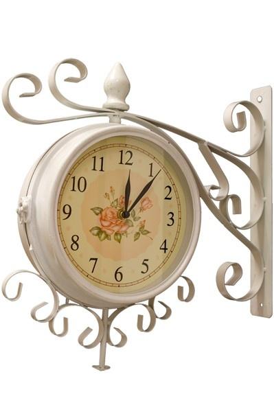 Nádražní hodiny oboustranné S růží bílé
