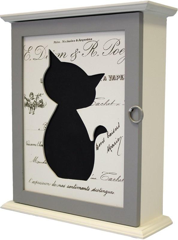 Dřevěná skříňka na klíče - Kočka