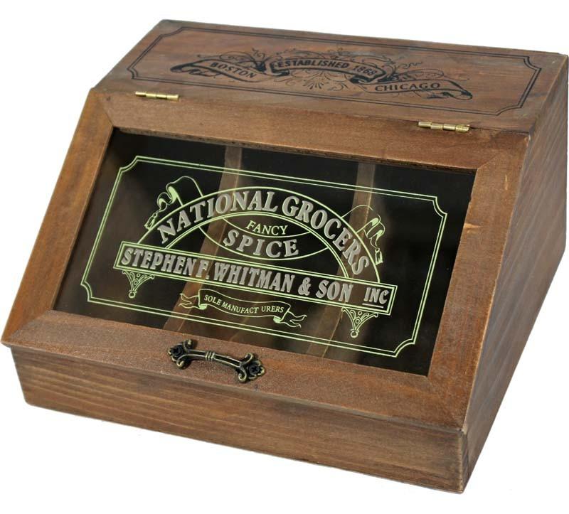 Dřevěná skříňka na koření
