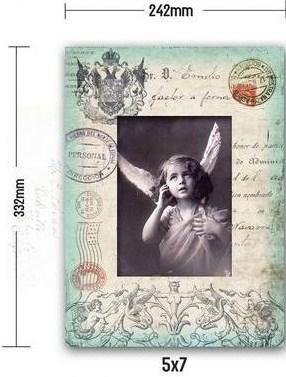 Dřevěný fotorámeček Retro Letter Azur