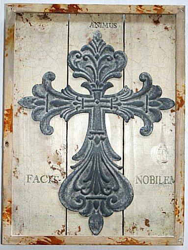 Dřevený retro obraz Kříž