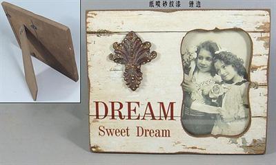 Dřevěný fotorámeček Retro Dekor květin N