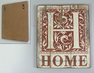 Dřevený vintage obraz Home
