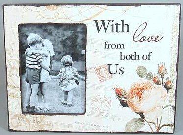 Dřevěný vintage fotorámeček With love both of us