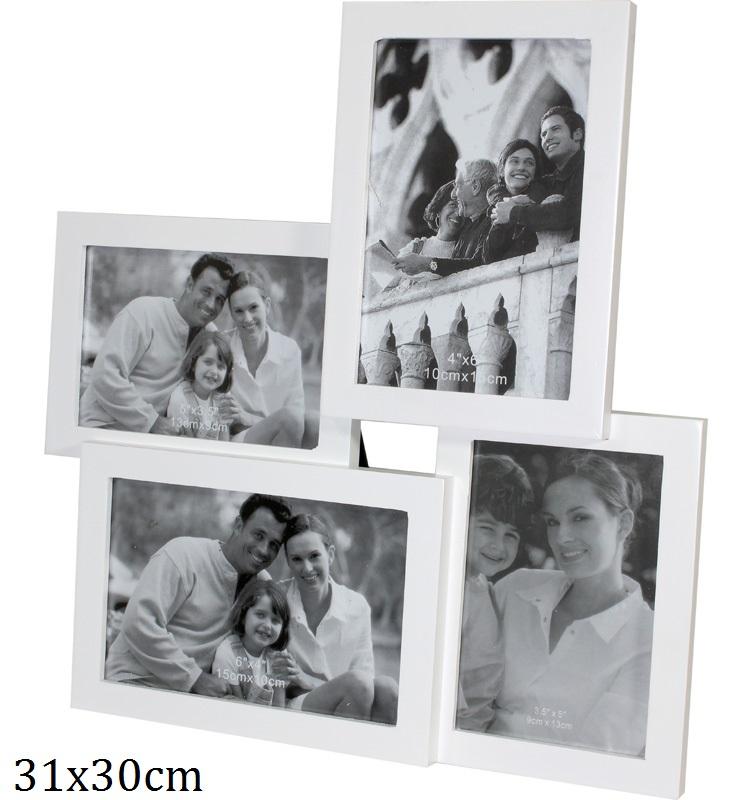 Dřevěný fotorámeček na 4 fotky bílý