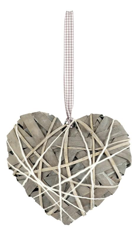 Proutěné srdce šedé s mašlí L