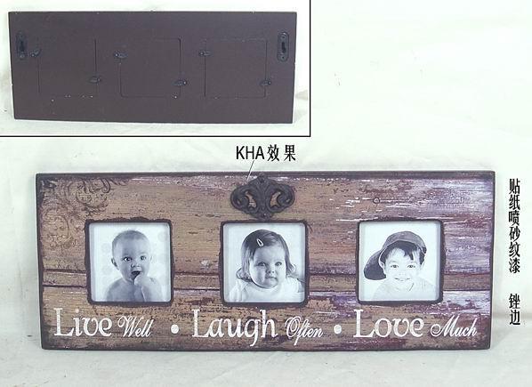 Dřevěný fotorámeček na 3 fotky vintage LLL
