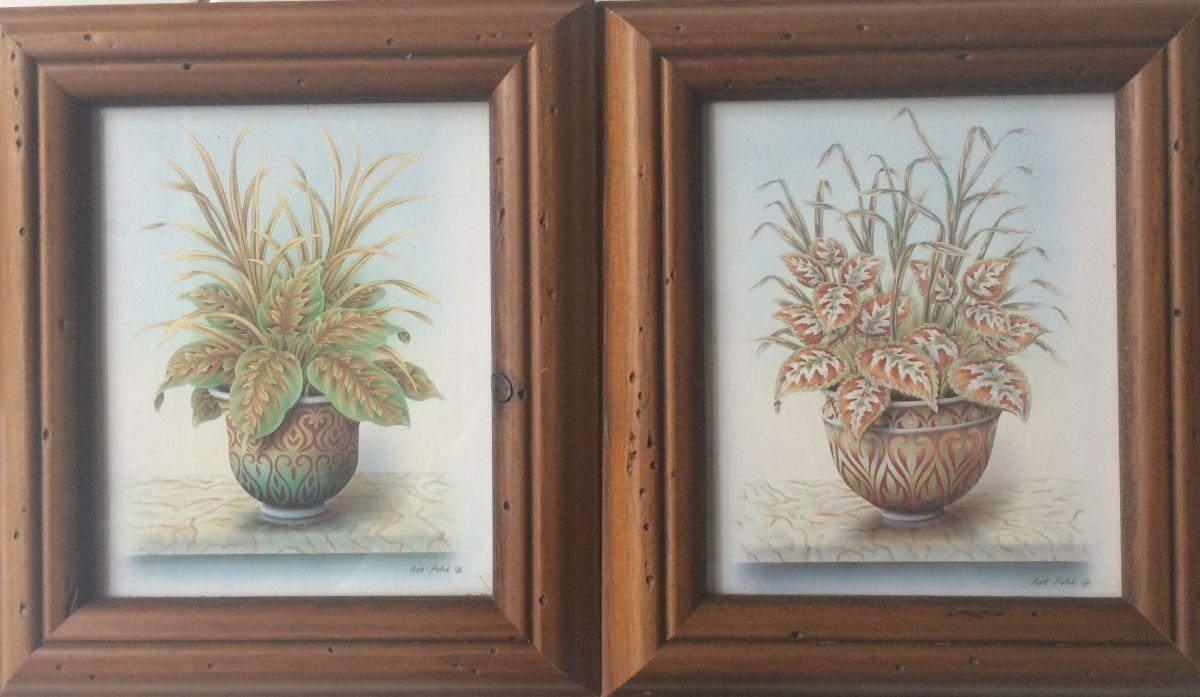 Obrázek na zeď Květina v květináči - sada 2 kusy
