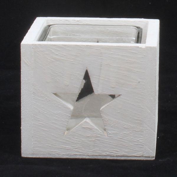 Dřevěný svícen Hvězda bílý