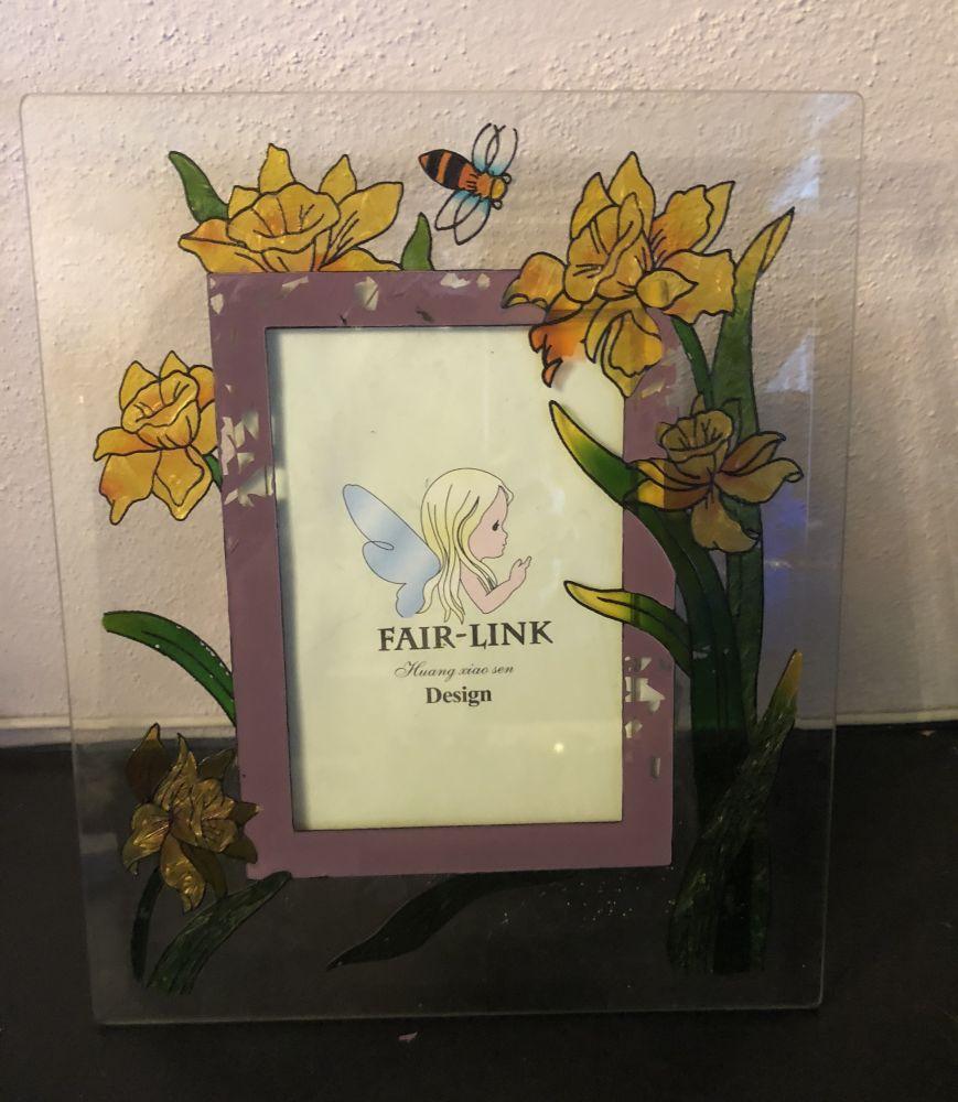 Skleněný fotorámeček Květiny fialový - vadné zboží
