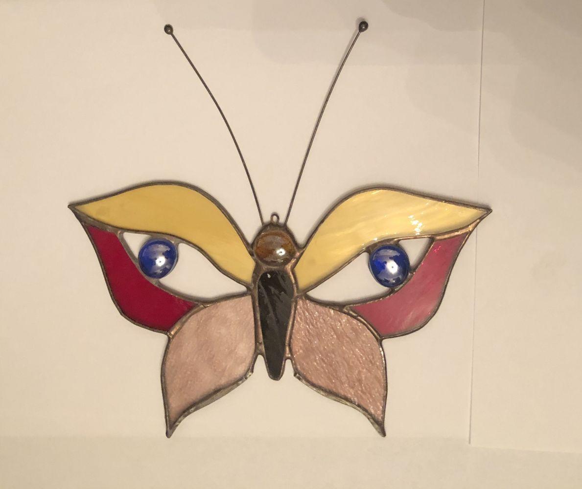Závěsná skleněná vitráž Motýl color
