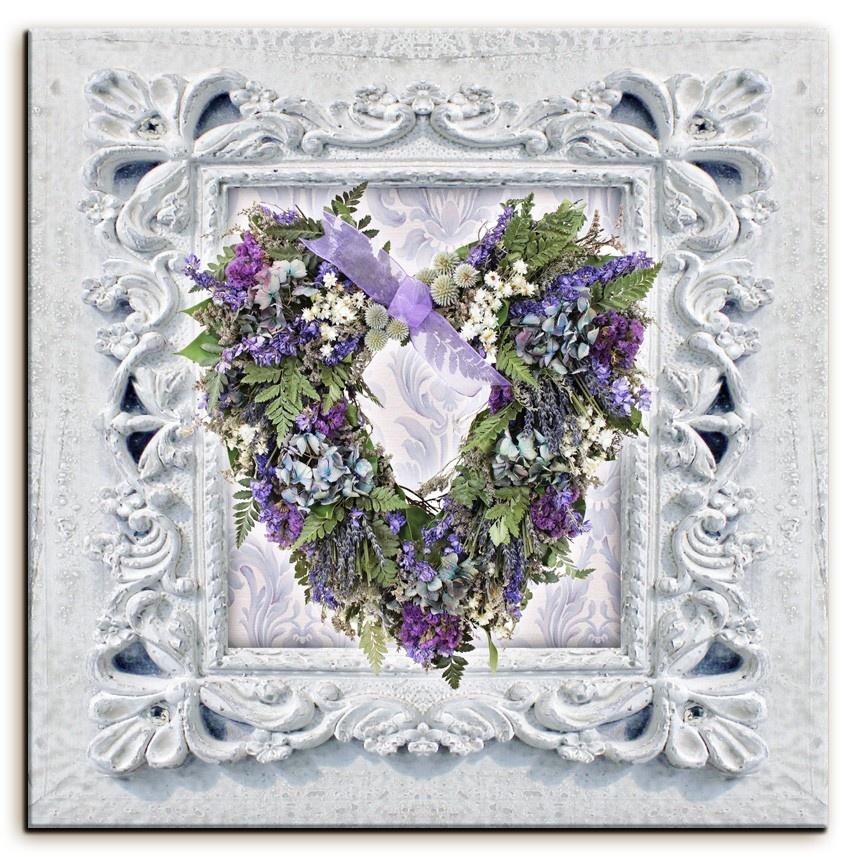 Obraz na plátně Srdce v rámu - Levandule